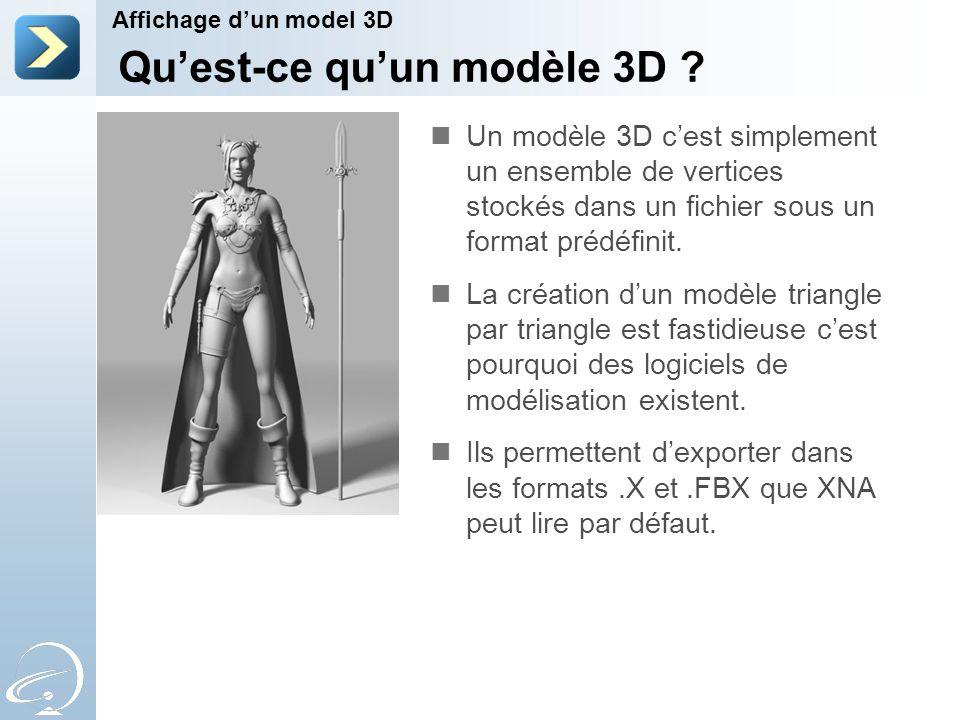 Un modèle 3D c'est simplement un ensemble de vertices stockés dans un fichier sous un format prédéfinit.