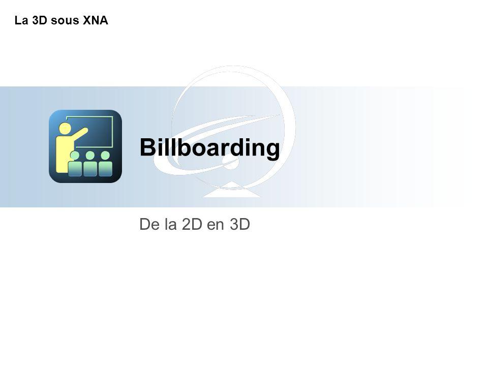 Billboarding De la 2D en 3D La 3D sous XNA