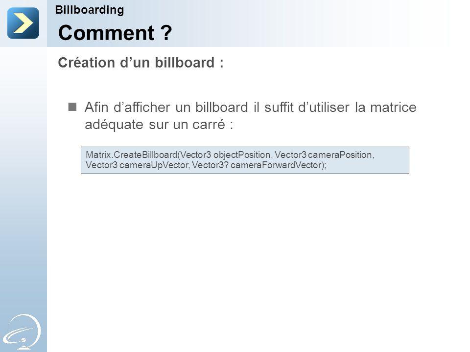Création d'un billboard : Billboarding Comment .