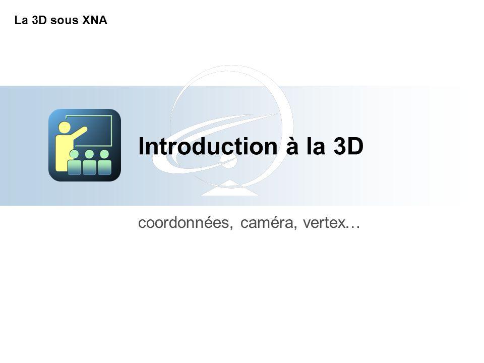 Introduction à la 3D coordonnées, caméra, vertex… La 3D sous XNA