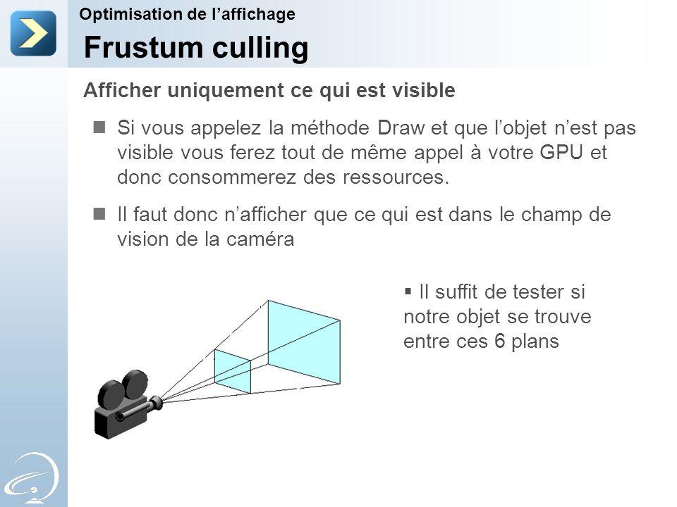 Si vous appelez la méthode Draw et que l'objet n'est pas visible vous ferez tout de même appel à votre GPU et donc consommerez des ressources.