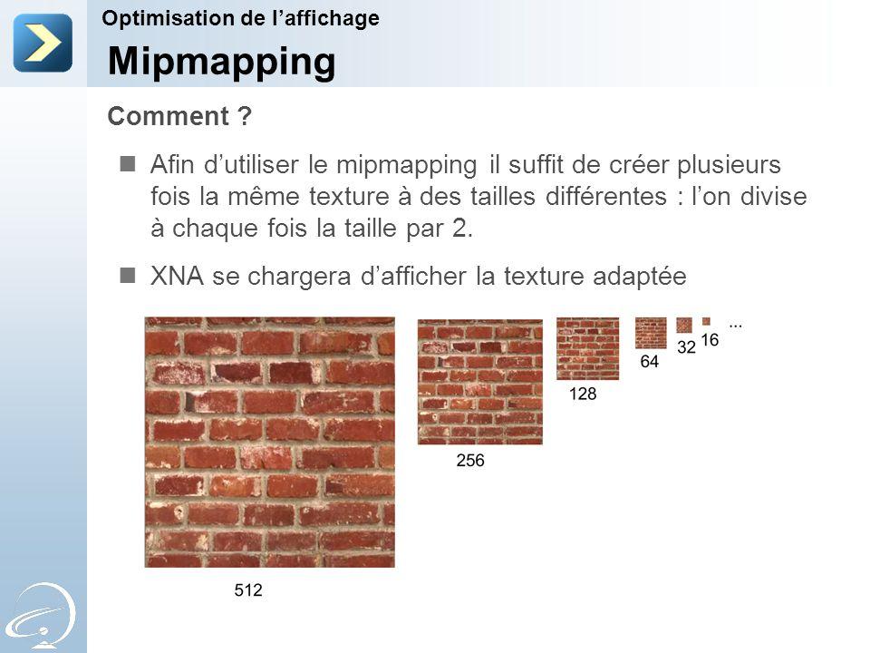 Afin d'utiliser le mipmapping il suffit de créer plusieurs fois la même texture à des tailles différentes : l'on divise à chaque fois la taille par 2.