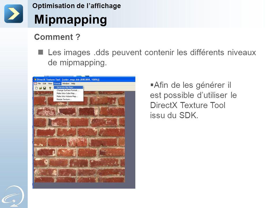 Les images.dds peuvent contenir les différents niveaux de mipmapping.