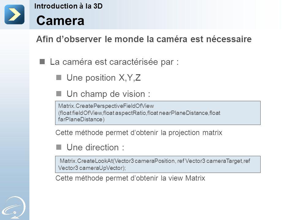La caméra est caractérisée par : Une position X,Y,Z Un champ de vision : Cette méthode permet d'obtenir la projection matrix Une direction : Cette méthode permet d'obtenir la view Matrix Afin d'observer le monde la caméra est nécessaire Introduction à la 3D Camera Matrix.CreatePerspectiveFieldOfView (float fieldOfView,float aspectRatio,float nearPlaneDistance,float farPlaneDistance) Matrix.CreateLookAt(Vector3 cameraPosition, ref Vector3 cameraTarget,ref Vector3 cameraUpVector);