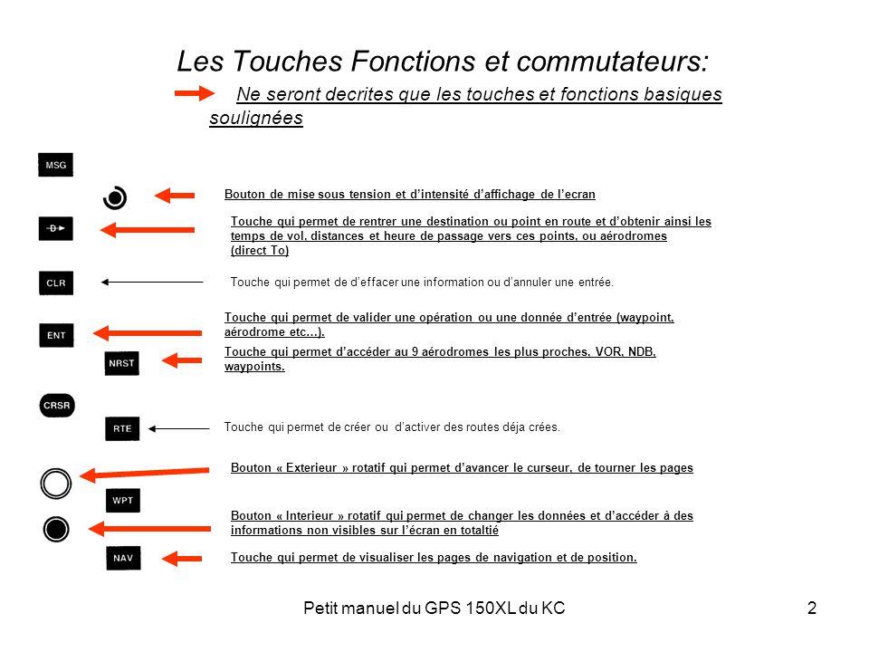 Petit manuel du GPS 150XL du KC2 Les Touches Fonctions et commutateurs: Ne seront decrites que les touches et fonctions basiques soulignées Touche qui