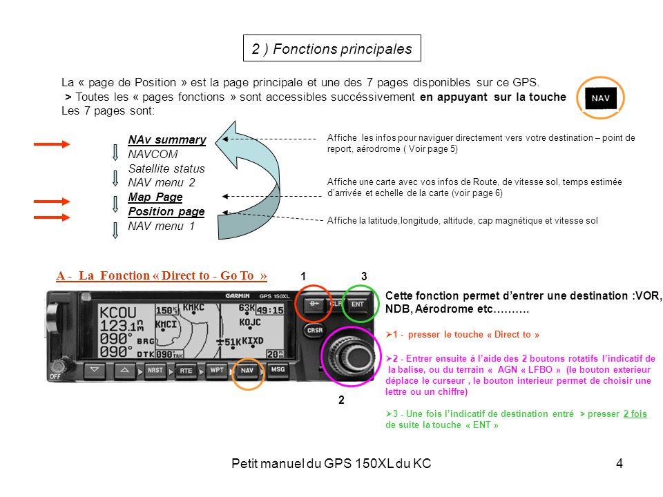 Petit manuel du GPS 150XL du KC4 2 ) Fonctions principales La « page de Position » est la page principale et une des 7 pages disponibles sur ce GPS. >