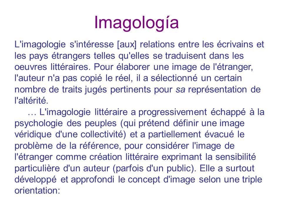 Imagología L imagologie s intéresse [aux] relations entre les écrivains et les pays étrangers telles qu elles se traduisent dans les oeuvres littéraires.