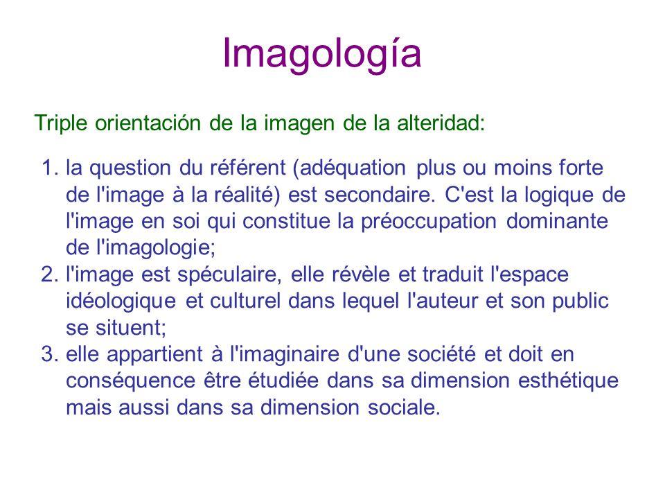 Imagología Triple orientación de la imagen de la alteridad: 1.la question du référent (adéquation plus ou moins forte de l image à la réalité) est secondaire.