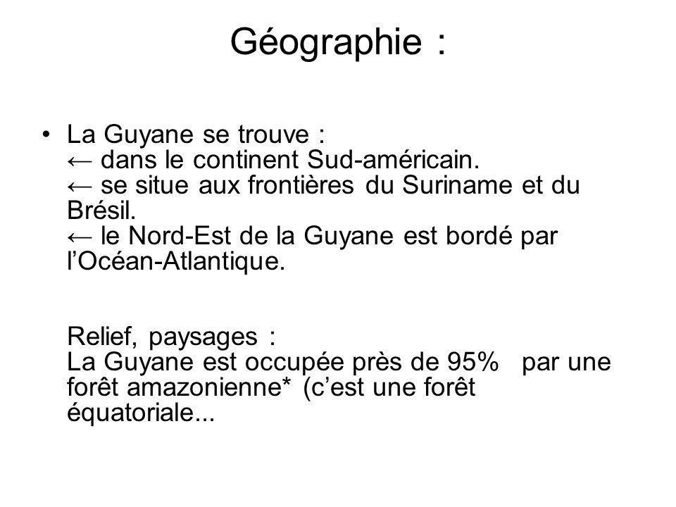 La GUYANE Gentilé : Guyanais, Guyanaise Population : 239 450 hab.