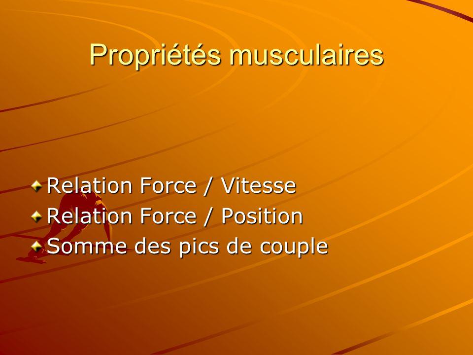 Propriétés musculaires Relation Force / Vitesse Relation Force / Position Somme des pics de couple