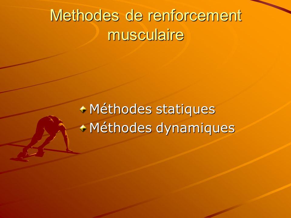 Methodes de renforcement musculaire Méthodes statiques Méthodes dynamiques