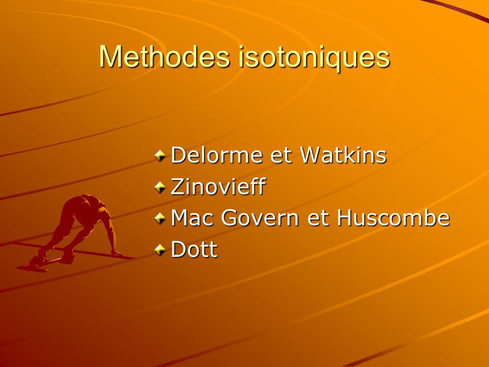 Methodes isotoniques Delorme et Watkins Zinovieff Mac Govern et Huscombe Dott