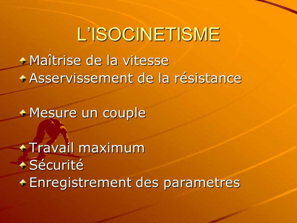L'ISOCINETISME Maîtrise de la vitesse Asservissement de la résistance Mesure un couple Travail maximum Sécurité Enregistrement des parametres