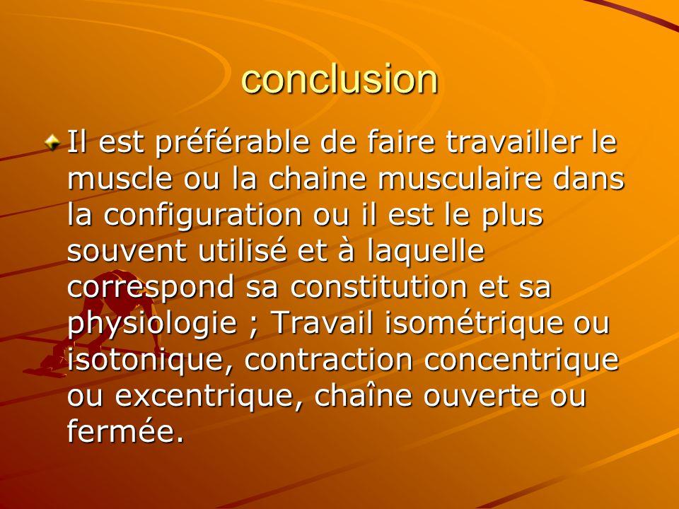 conclusion Il est préférable de faire travailler le muscle ou la chaine musculaire dans la configuration ou il est le plus souvent utilisé et à laquel