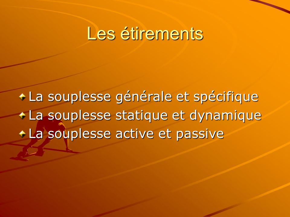 Les étirements La souplesse générale et spécifique La souplesse statique et dynamique La souplesse active et passive
