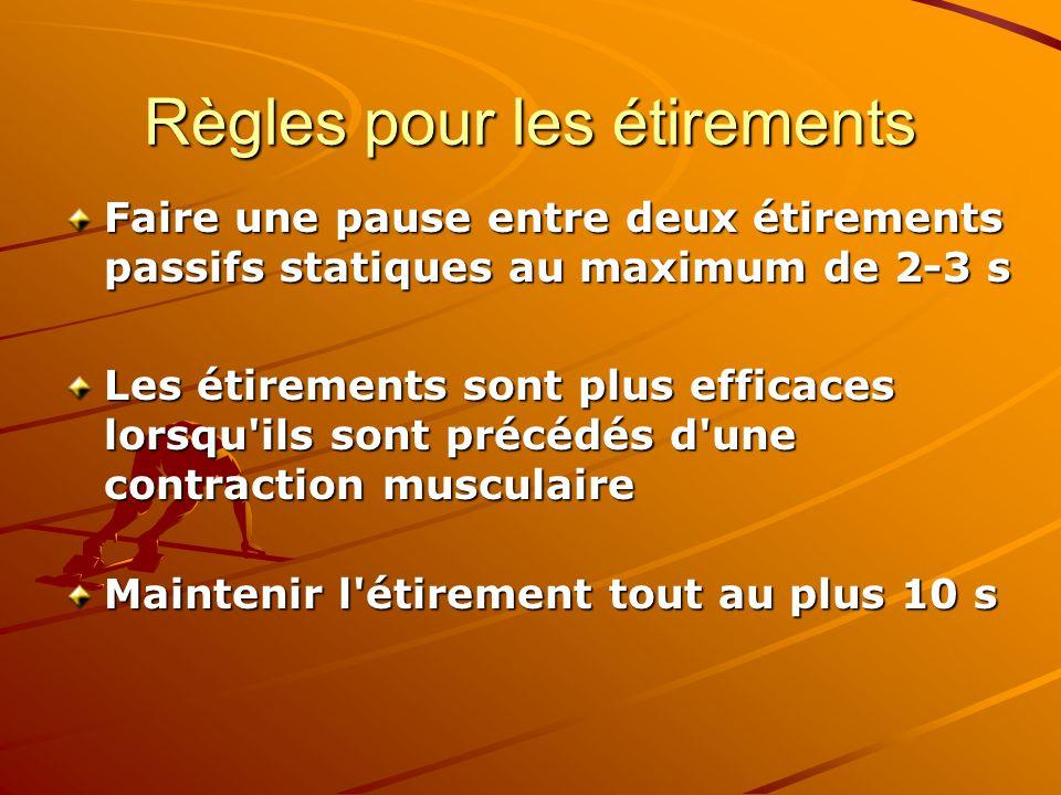 Règles pour les étirements Faire une pause entre deux étirements passifs statiques au maximum de 2-3 s Les étirements sont plus efficaces lorsqu'ils s