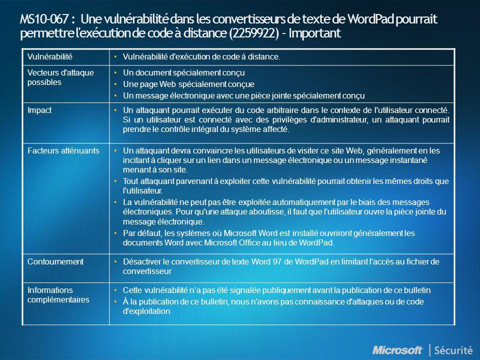 MS10-068 : Introduction et indices de gravité NuméroTitre Indice de gravité maximal Produits affectés MS10-068 Une vulnérabilité dans le service LSASS (Local Security Authority Subsystem Service) pourrait permettre une élévation de privilèges (983539) Important ADAM sur Windows XP (Toutes les versions supportées) AD et ADAM sur Windows Server 2003 (Toutes les versions supportées) AD LDS sur Windows Vista SP2 AD LDS Windows Vista X64 SP2 AD et AD LDS sur Windows Server 2008 x86 et x64 (toutes versions supportés) AD LDS sur Windows 7 (Toutes les versions supportées) AD et AD LDS sur Windows Server 2008 R2 x64