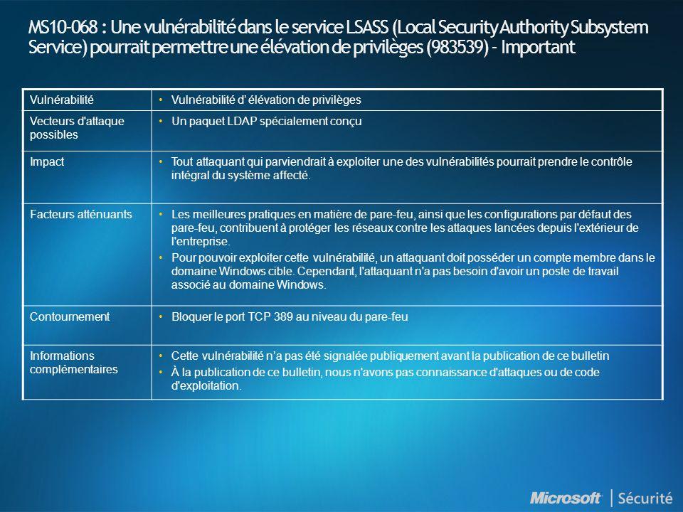 MS10-069 : Introduction et indices de gravité NuméroTitre Indice de gravité maximal Produits affectés MS10-069 Une vulnérabilité dans le processus CSRSS (Client/Server Runtime Subsystem) Windows pourrait permettre une élévation de privilèges (2121546) Important Windows XP (Toutes les versions supportées) Windows Server 2003 (Toutes les versions supportées)