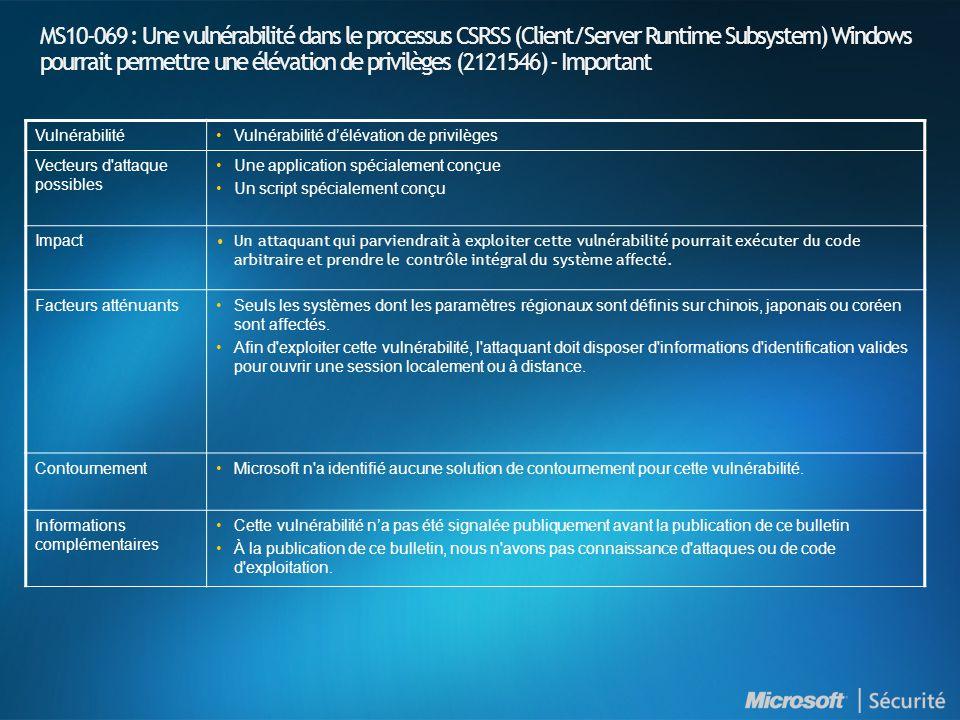 BulletinWindows Update Microsoft Update MBSA 2.1WSUS 3.0SMS avec Feature Pack SUS SMS avec Outil d inventaire des mises à jour SCCM 2007 MS10-061 OuiOuiOuiOui Oui 1 OuiOui MS10-062 OuiOuiOuiOui OuiOui MS10-063 Oui 2 OuiOuiOui Oui 1 OuiOui MS10-064 Non 2 OuiOuiOui Non 1 OuiOui MS10-065 OuiOuiOuiOui Oui 1 OuiOui MS10-066 OuiOuiOuiOui OuiOui MS10-067 OuiOuiOuiOui OuiOui MS10-068 OuiOuiOuiOui OuiOui MS10-069 OuiOuiOuiOui OuiOui 1 - SMS SUSFP ne prend pas en charge Internet Explorer 7, Internet Explorer 8, Exchange 2007, Windows Media Player 11, toutes versions ou composant s d Office ou Works, Windows Vista, Windows Server 2008, Windows 7, Windows Server 2008 R2, toutes versions de Windows x64 et les systèmes Windows ia64 2 – Windows Update fournit seulement les mises à jour pour les composants Windows et ne supporte pas Office ou Exchange.