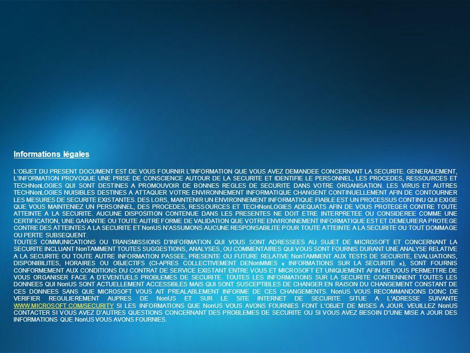 Informations légales L'OBJET DU PRESENT DOCUMENT EST DE VOUS FOURNIR L'INFORMATION QUE VOUS AVEZ DEMANDEE CONCERNANT LA SECURITE. GENERALEMENT, L'INFO