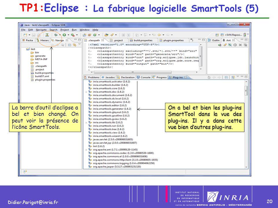 20 Didier.Parigot@inria.fr La barre d'outil d'eclipse a bel et bien changé. On peut voir la présence de l'icône SmartTools. On a bel et bien les plug-