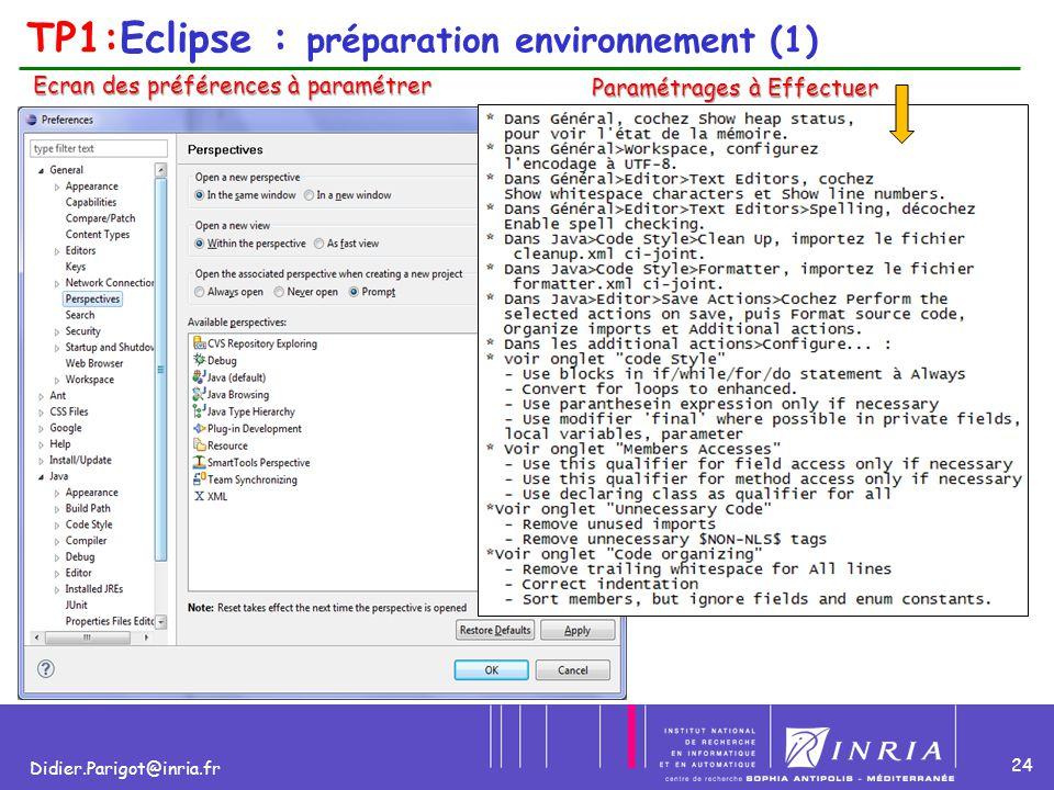 24 Didier.Parigot@inria.fr TP1:Eclipse : préparation environnement (1) Ecran des préférences à paramétrer Paramétrages à Effectuer