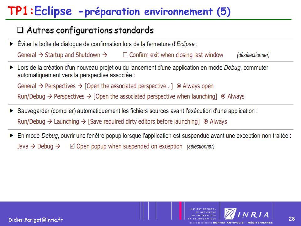 28 Didier.Parigot@inria.fr TP1:Eclipse - préparation environnement (5)  Autres configurations standards