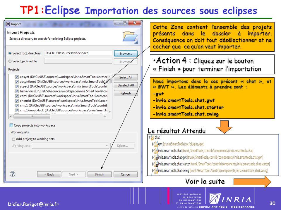 30 Didier.Parigot@inria.fr TP1:Eclipse Importation des sources sous eclipses Cette Zone contient l'ensemble des projets présents dans le dossier à imp
