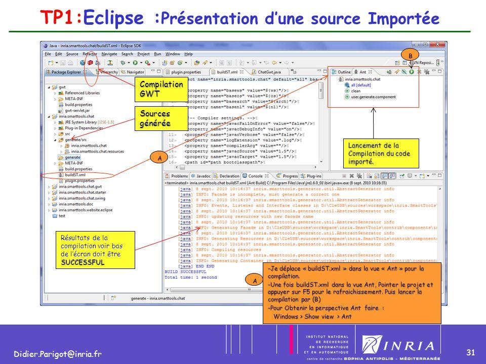 31 Didier.Parigot@inria.fr TP1:Eclipse : Présentation d'une source Importée Lancement de la Compilation du code importé. Résultats de la compilation v