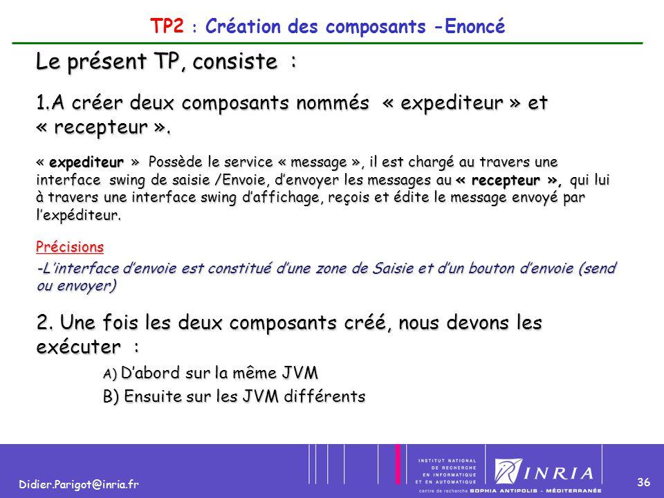 36 Didier.Parigot@inria.fr TP2 : Création des composants -Enoncé Le présent TP, consiste : 1.A créer deux composants nommés « expediteur » et « recept