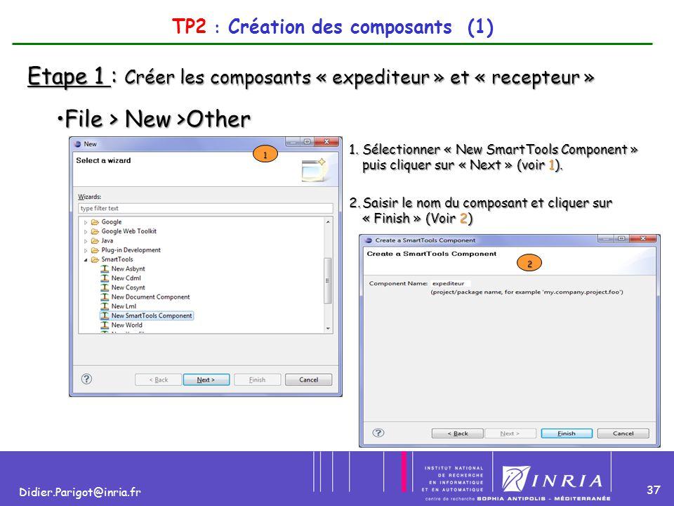 37 Didier.Parigot@inria.fr TP2 : Création des composants (1) Etape 1 : Créer les composants « expediteur » et « recepteur » File > New >OtherFile > Ne