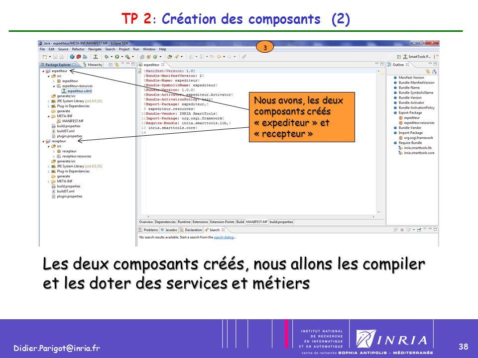 38 Didier.Parigot@inria.fr TP 2 : Création des composants (2) 3 Nous avons, les deux composants créés « expediteur » et « recepteur » Les deux composa