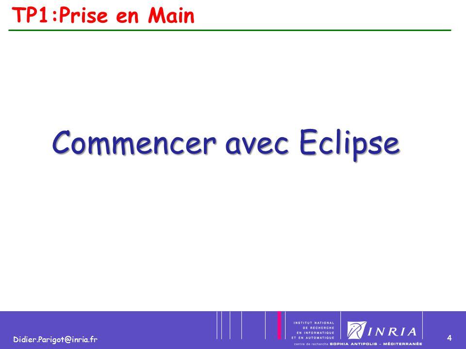 5 Didier.Parigot@inria.fr TP1:Eclipse : Identité  IDE écrit en JAVA  Auteur : IBM  Open Source  Eclipse est au cœur de WSW (Websphere Studio Workbench)  Extensible grâce à son concept de module appelé couramment Plug-ins  Le noyau de la plate-forme est nommé Runtime.