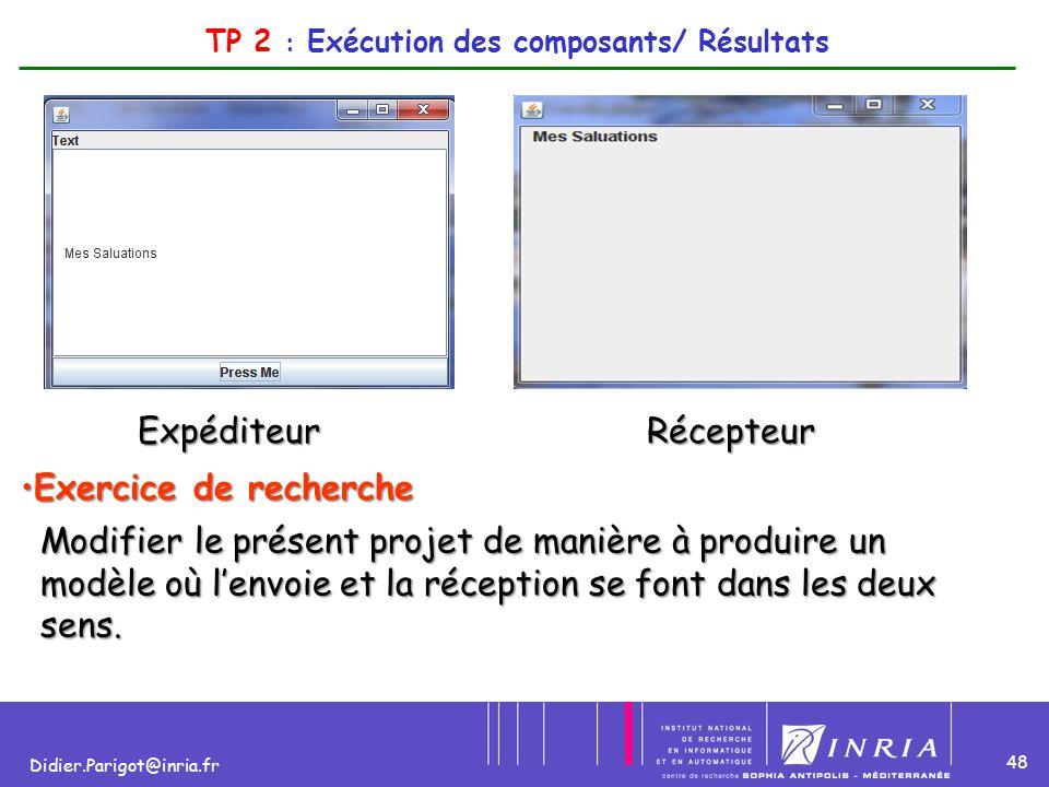 48 Didier.Parigot@inria.fr TP 2 : Exécution des composants/ Résultats ExpéditeurRécepteur Exercice de rechercheExercice de recherche Modifier le prése