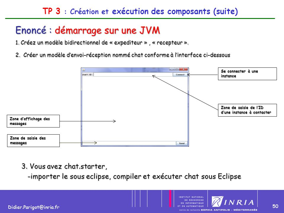 50 Didier.Parigot@inria.fr TP 3 : Création et exécution des composants (suite) Enoncé : démarrage sur une JVM 1. Créez un modèle bidirectionnel de « e