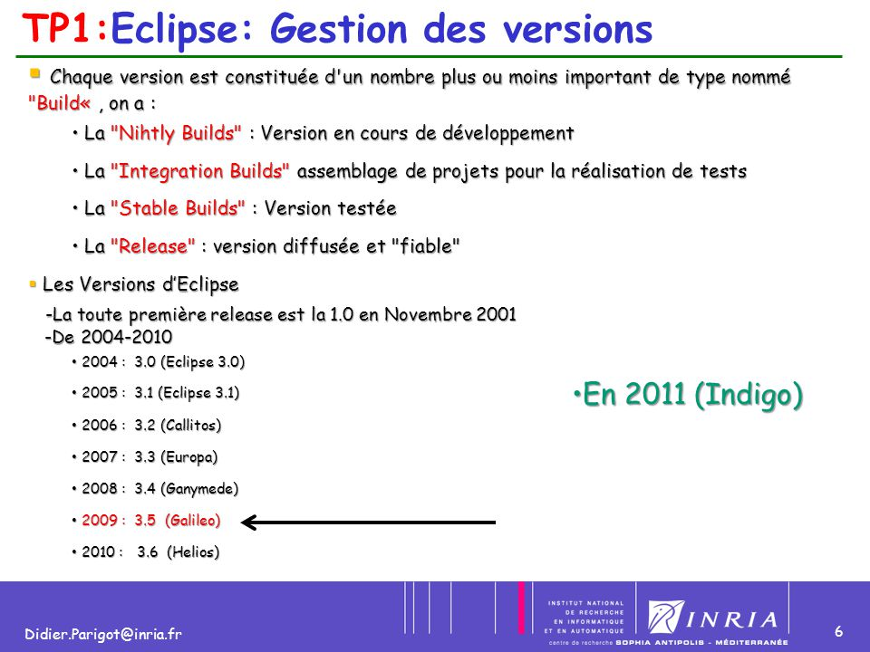 6 Didier.Parigot@inria.fr TP1:Eclipse: Gestion des versions  Chaque version est constituée d un nombre plus ou moins important de type nommé Build«, on a : La Nihtly Builds : Version en cours de développement La Nihtly Builds : Version en cours de développement La Integration Builds assemblage de projets pour la réalisation de tests La Integration Builds assemblage de projets pour la réalisation de tests La Stable Builds : Version testée La Stable Builds : Version testée La Release : version diffusée et fiable La Release : version diffusée et fiable  Les Versions d'Eclipse -La toute première release est la 1.0 en Novembre 2001 -La toute première release est la 1.0 en Novembre 2001 -De 2004-2010 -De 2004-2010 2004 : 3.0 (Eclipse 3.0) 2004 : 3.0 (Eclipse 3.0) 2005 : 3.1 (Eclipse 3.1) 2005 : 3.1 (Eclipse 3.1) 2006 : 3.2 (Callitos) 2006 : 3.2 (Callitos) 2007 : 3.3 (Europa) 2007 : 3.3 (Europa) 2008 : 3.4 (Ganymede) 2008 : 3.4 (Ganymede) 2009 : 3.5 (Galileo) 2009 : 3.5 (Galileo) 2010 : 3.6 (Helios) 2010 : 3.6 (Helios) En 2011 (Indigo)En 2011 (Indigo)