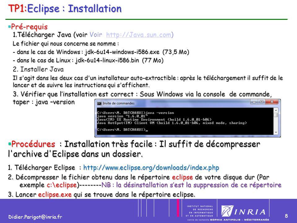 9 Didier.Parigot@inria.fr TP1:Eclipse : démarrage (1) Lorsque vous lancer eclipse vous obtenez l'écran ci-dessous Lorsque vous lancer eclipse vous obtenez l'écran ci-dessous Commentaires :Commentaires : WorkSpace signifie espace de travail.