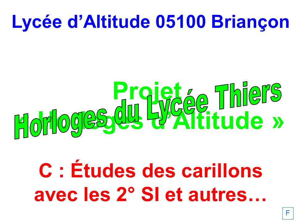 Lycée d'Altitude 05100 Briançon Projet « Horloges d'Altitude » C : Études des carillons avec les 2° SI et autres… F