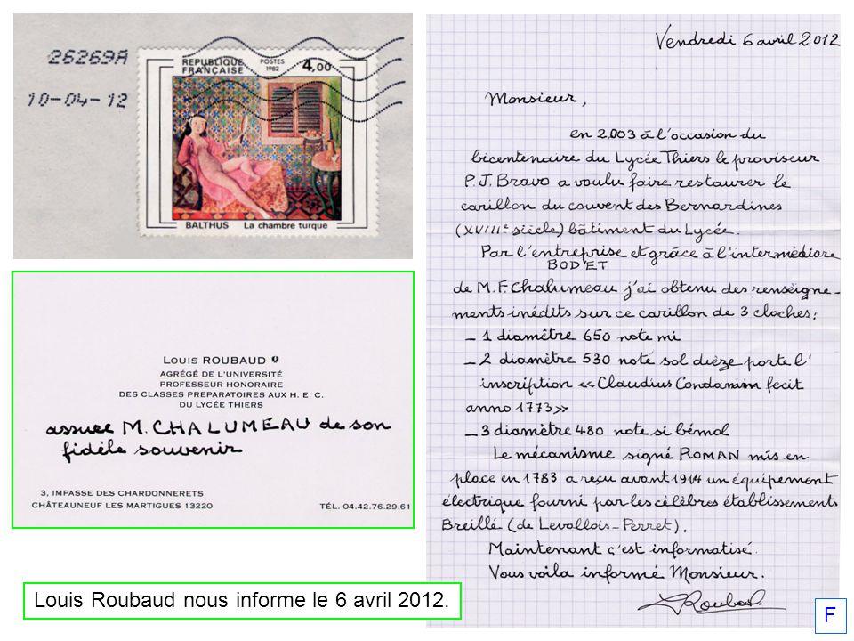 F Louis Roubaud nous informe le 6 avril 2012.