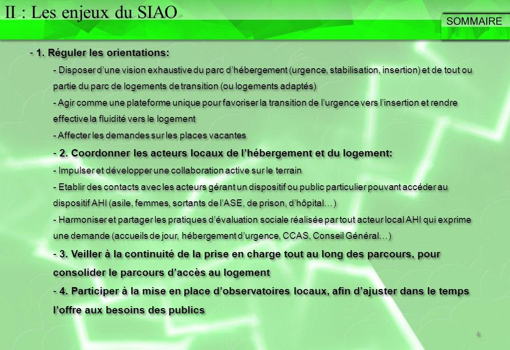 Attentes des deux SIAO – Possibilité de produire les Tableaux de Fluidité via le SI – Progression de la part des Partenaires en structures pour indiquer les entrées et sorties en temps réel.