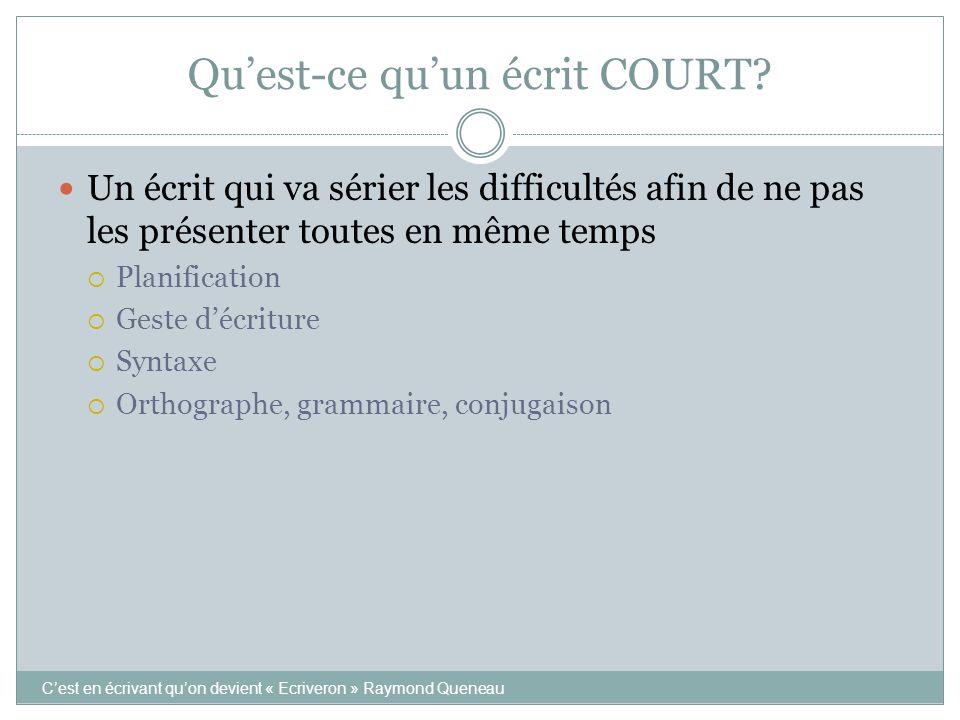 Qu'est-ce qu'un écrit COURT? C'est en écrivant qu'on devient « Ecriveron » Raymond Queneau Un écrit qui va sérier les difficultés afin de ne pas les p