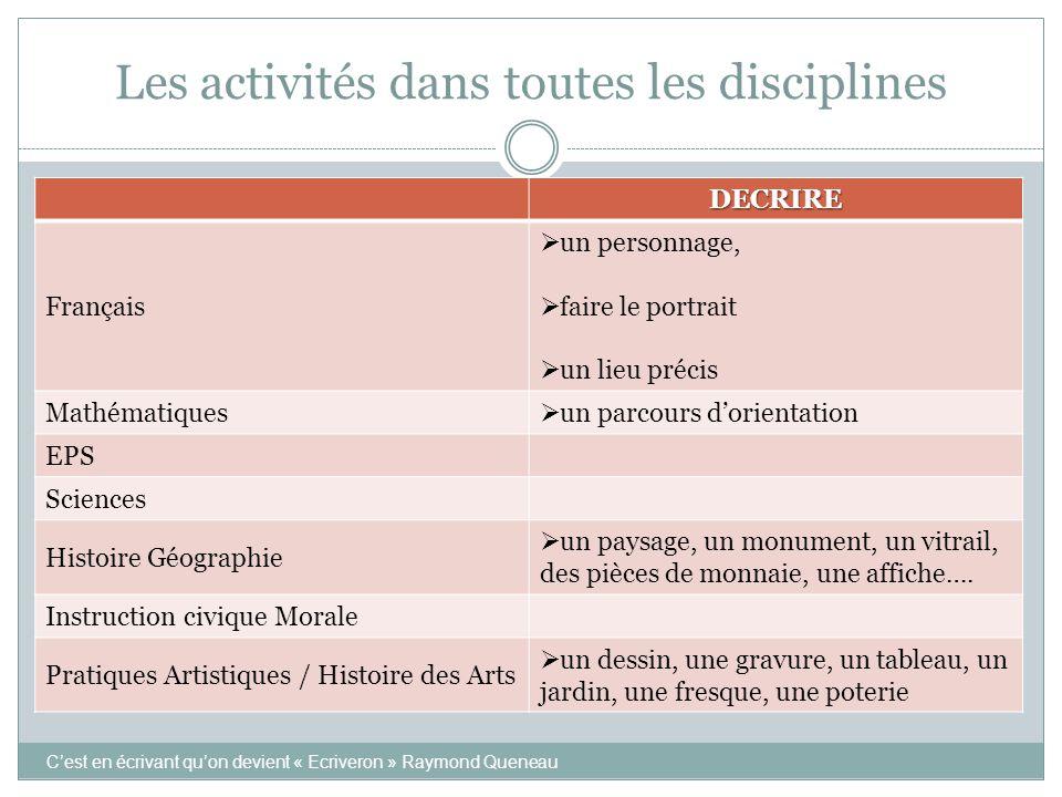 Les activités dans toutes les disciplines DECRIRE Français  un personnage,  faire le portrait  un lieu précis Mathématiques  un parcours d'orienta