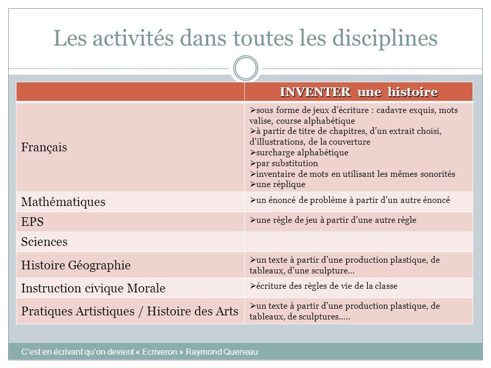Les activités dans toutes les disciplines INVENTER une histoire Français  sous forme de jeux d'écriture : cadavre exquis, mots valise, course alphabé