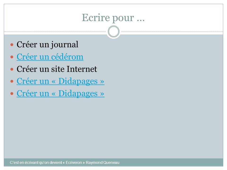 Ecrire pour … Créer un journal Créer un cédérom Créer un site Internet Créer un « Didapages » C'est en écrivant qu'on devient « Ecriveron » Raymond Queneau