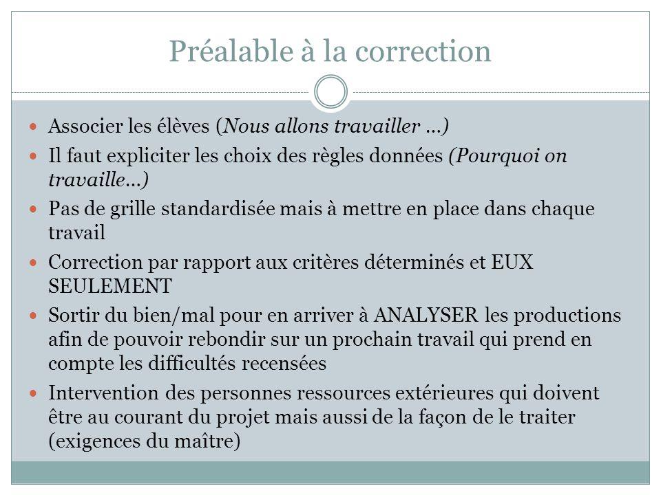 Préalable à la correction Associer les élèves (Nous allons travailler …) Il faut expliciter les choix des règles données (Pourquoi on travaille…) Pas