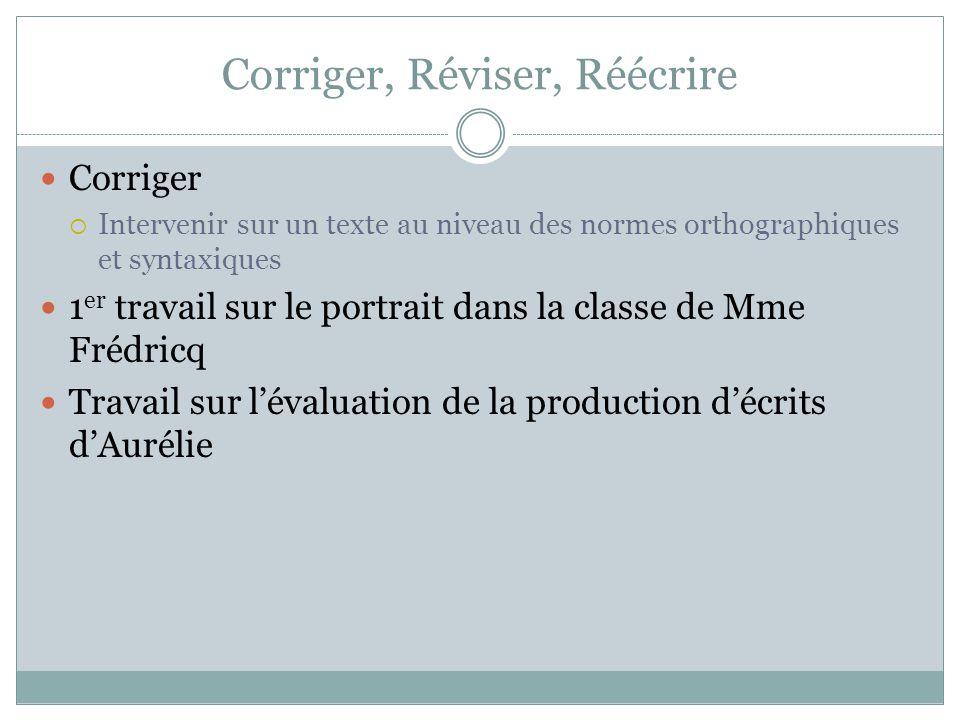 Corriger, Réviser, Réécrire Corriger  Intervenir sur un texte au niveau des normes orthographiques et syntaxiques 1 er travail sur le portrait dans la classe de Mme Frédricq Travail sur l'évaluation de la production d'écrits d'Aurélie