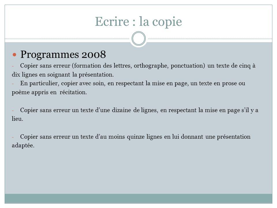 Ecrire : la copie Programmes 2008 - Copier sans erreur (formation des lettres, orthographe, ponctuation) un texte de cinq à dix lignes en soignant la présentation.
