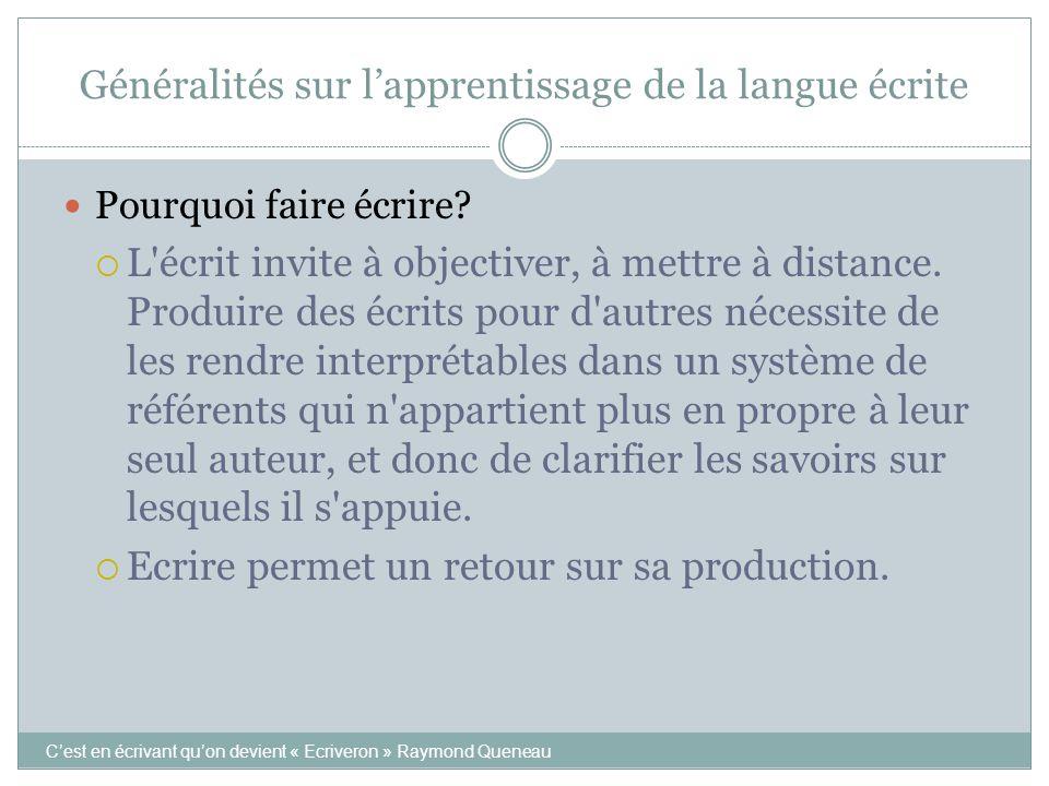Généralités sur l'apprentissage de la langue écrite C'est en écrivant qu'on devient « Ecriveron » Raymond Queneau Pourquoi faire écrire?  L'écrit inv