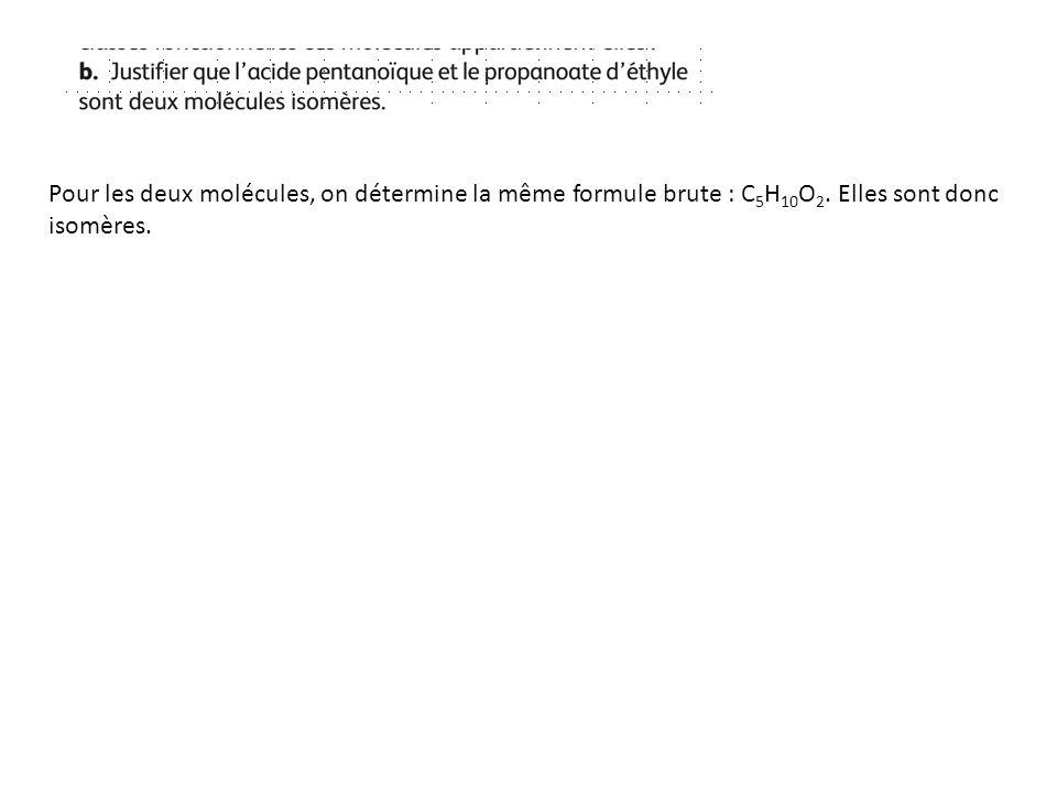Pour les deux molécules, on détermine la même formule brute : C 5 H 10 O 2. Elles sont donc isomères.