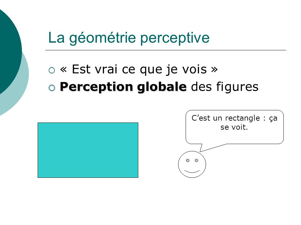 La géométrie perceptive  « Est vrai ce que je vois »  Perceptionglobale  Perception globale des figures C'est un rectangle : ça se voit.